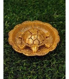 Gold Plated Metal Feng Shui Tortoise On Metal Plate - Gold Tortoise For Good Luck Money - Medium