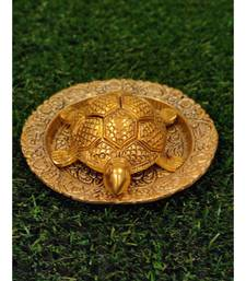 Gold Plated Metal Feng Shui Tortoise On Metal Plate - Gold Tortoise For Good Luck Money - Large
