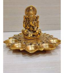 Gold Plated Metal Hindu God Ganesha Idol With Five Diyas For Diwali Puja decor Home Temple Festival Gifting
