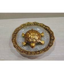 Metal Feng Shui Gold Plated Tortoise Plate Home decor Good Luck Showpiece For Office Shop Home Decoration