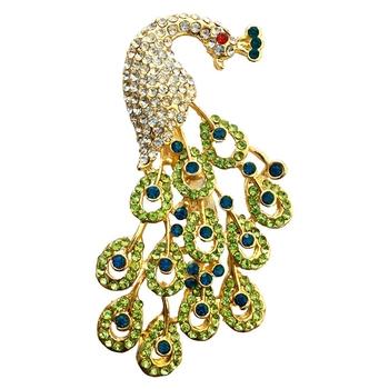 Green crystal brooch