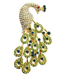 Green crystal brooch