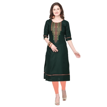 Green embroidered cotton silk embroidered-kurtis