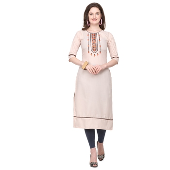 Ivory embroidered cotton silk embroidered-kurtis