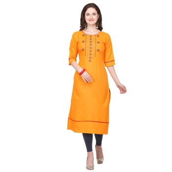 Yellow embroidered cotton silk embroidered-kurtis