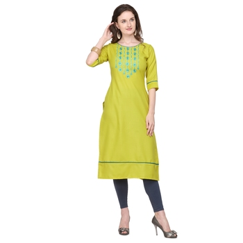 Lime embroidered cotton silk embroidered-kurtis