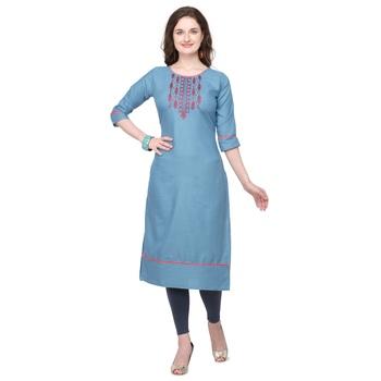 Light-blue embroidered cotton silk embroidered-kurtis