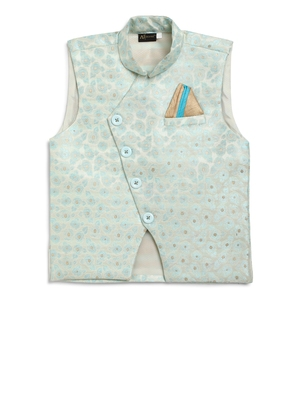 Turquoise woven silk blend boys-indo-western-dress