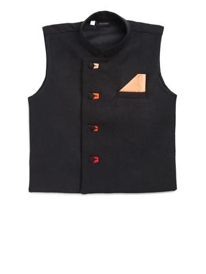 Black plain jute cotton boys-indo-western-dress
