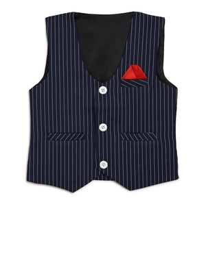 Blue woven cotton knitted boys-indo-western-dress