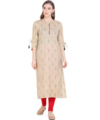 Beige woven cotton kurtas-and-kurtis
