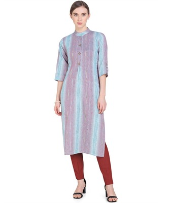 Aqua-blue woven cotton kurtas-and-kurtis
