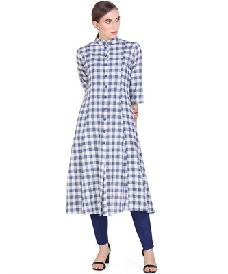 Navy-blue woven cotton kurtas-and-kurtis