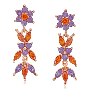 Orange cubic zirconia earrings
