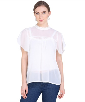 White plain georgette party-tops