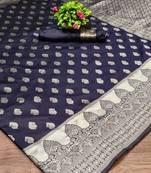 Buy NAVY BLUE LICHI SILK WITH WIVING SILVER SAREE WITH BLOUSE