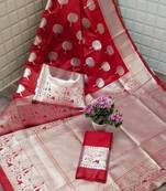 Buy SILVER TREE  RED LICHI SILK WITH WIVING SILVER SAREE WITH BLOUSE