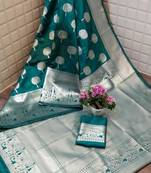 Buy SILVER TREE TEAL LICHI SILK WITH WIVING SILVER SAREE WITH BLOUSE