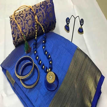 Blue plain tussar silk saree with blouse