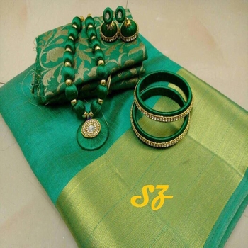 Green plain tussar silk saree with blouse