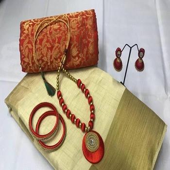 Cream plain tussar silk saree with blouse