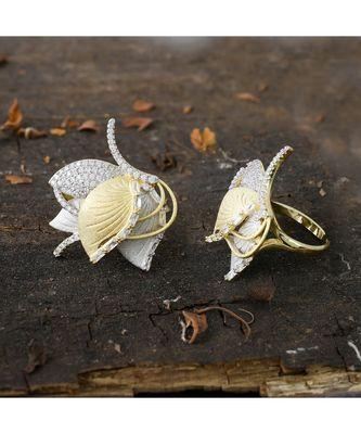 golden silver designer lotus design classy ring