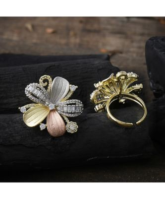 three in one  beautiful flower design ring