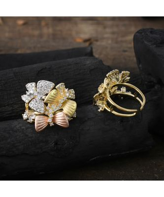 three in one cute beautiful butterfly design ring