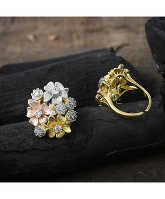 three in one designer stylish flower design ring