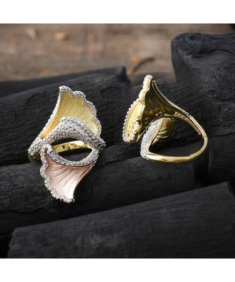 classy rose gold three in one designer ring