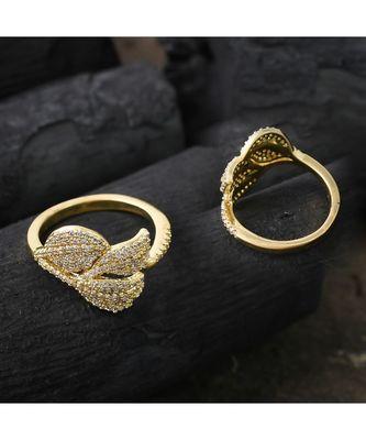 beautiful golden cut elegant stylish ring