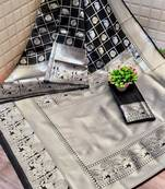 Buy SILVER HATHI BLACK LICHI SILK WITH WIVING SILVER SAREE WITH BLOUSE