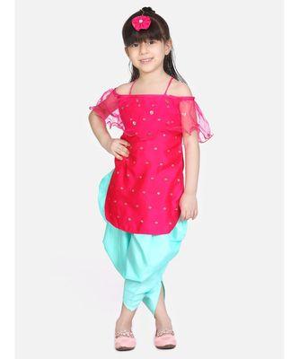 rani pink Frilly Fusion kurti dhoti with matching Maang Tika