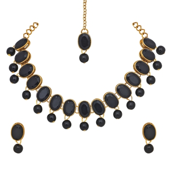 Black pearl necklace-sets