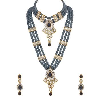 Grey pearl necklace-sets