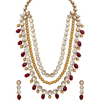 Maroon pearl necklace-sets
