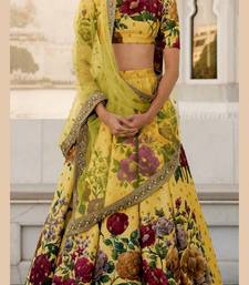 Yellow embroidered art silk semi stitched lehenga