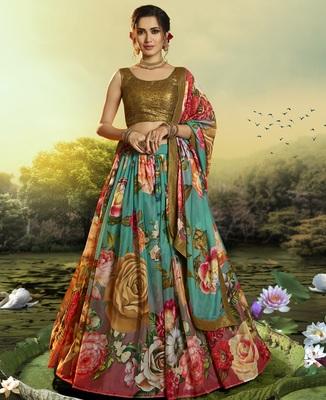 Multicolor embroidered organza semi stitched floral lehenga