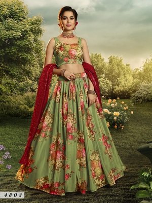 Green embroidered organza semi stitched floral lehenga