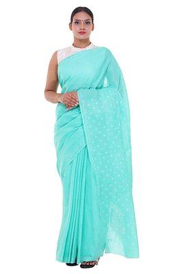 Lavangi Sea Green Lucknow Chikankari Hand Embroidered Keel Work Cotton Saree with Blouse