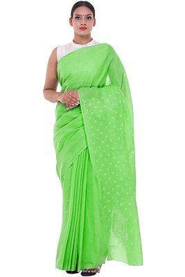 Lavangi Light Green Lucknow Chikankari Hand Embroidered Keel Work Cotton Saree with Blouse