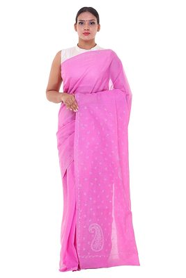 Lavangi Onion Pink Lucknow Chikankari Hand Embroidered Keel Work Cotton Saree with Blouse