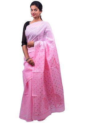 Lavangi Pink Lucknow Chikankari Maroon Thread Hand Embroidered Keel Work Cotton Saree with Blouse