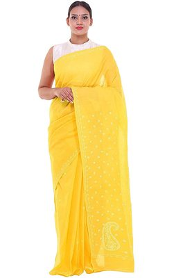 Lavangi Yellow Lucknow Chikankari Hand Embroidered Keel Work Cotton Saree with Blouse