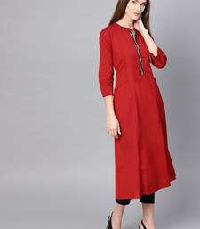 Pinksky Red woven cotton ethnic-kurtis