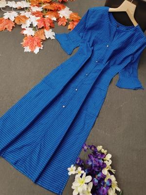 Blue plain cotton cotton-kurtis