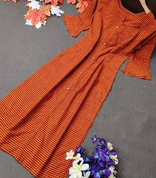 Orange plain cotton cotton-kurtis