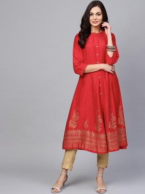 Pinksky Red woven art silk ethnic-kurtis