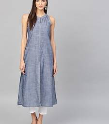 Pinksky Blue woven cotton ethnic-kurtis