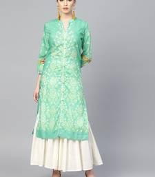 Pinksky Green woven crepe ethnic-kurtis